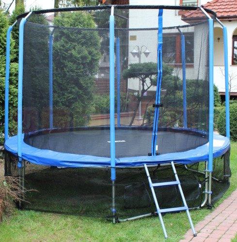 Trampolina 365cm 12ft (ring, drabinka, pokrowiec) niebieska